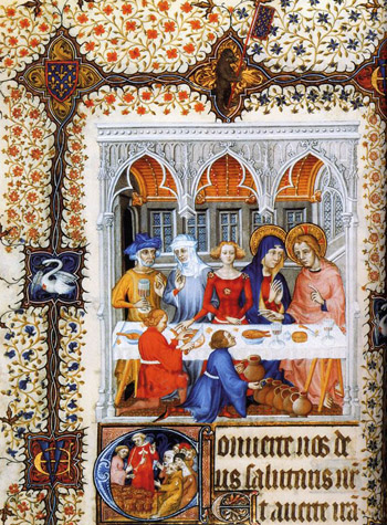 A medieval prayer book depiction of the marriage at Cana
