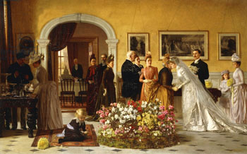A Victorian painting of a home wedding reception
