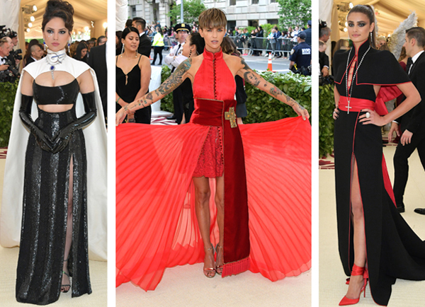 Female celebrities dressed as bishops, priests, cardinals, and prelates of the Catholic Church