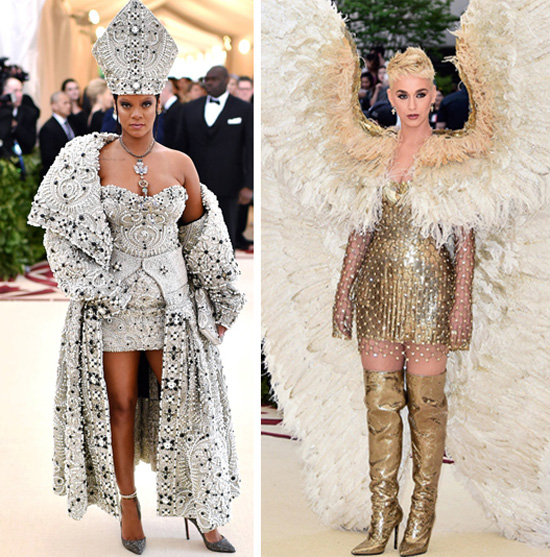 Rihanna dressed as a pope and Kate Perry dressed as an angel