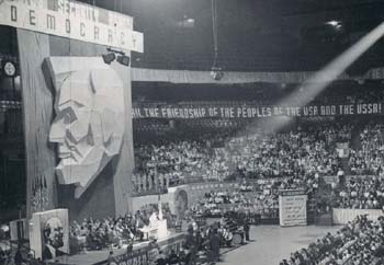 Lincoln's face glorified at a USA communist party meeting
