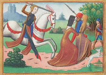 Joan of arc chasing prostitutes out of camp