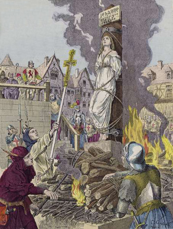 Joan of Arc executed by being burned at the stake