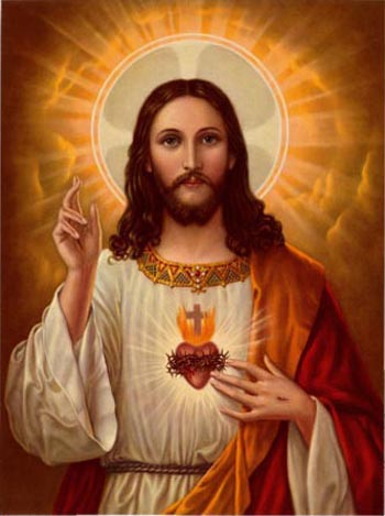 Our Lord with a halo displaying His Sacred Heart