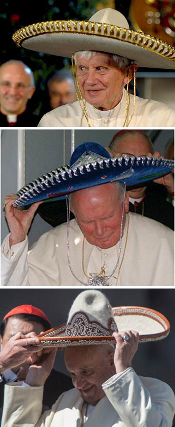 Popes wearing sombreros