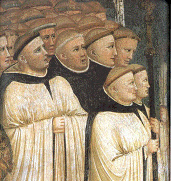 renaissance painting depicting a monks schola singing