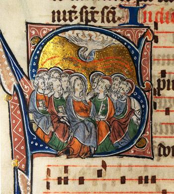 A medieval manucript depicting Pentecost