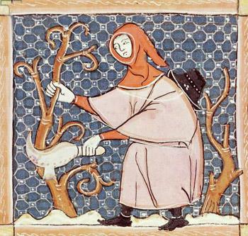 A medieval manuscript depicting pruning