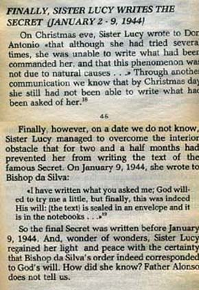 text from 'the whole truth about Fatima the Third Secret'