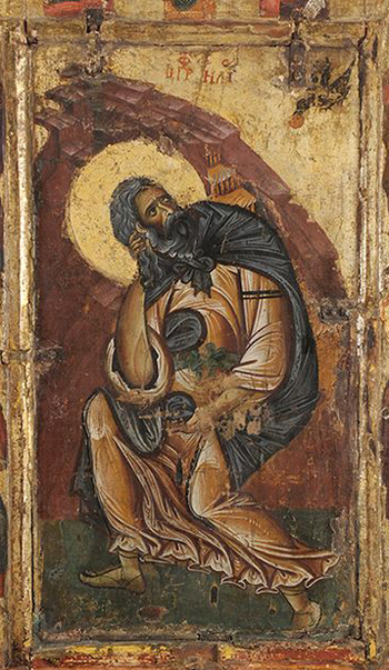 Ancient painting depicting the prophet Elias