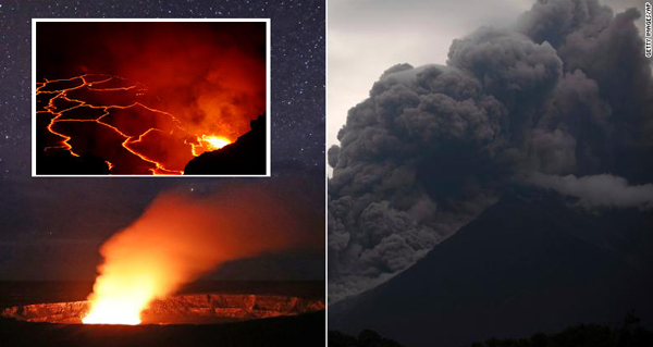 active volcanoes in Hawaii and Guatemala