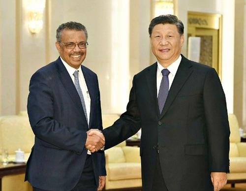 Xi Jinping z dyrektorem WHO