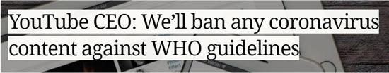 YouTube przestrzega agendy WHO