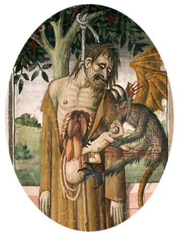 15th century depiction of Judas hanging himself and having his soul taken out of his entrails by a demon