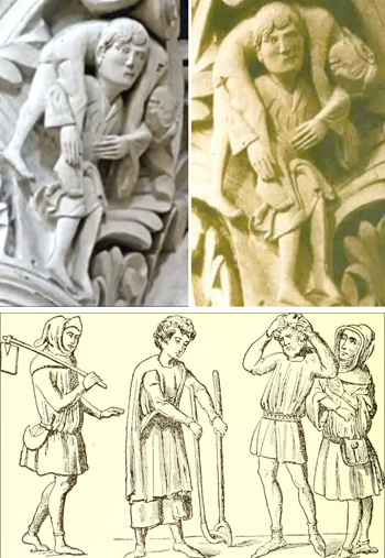 carved and drawn Medieval peasants