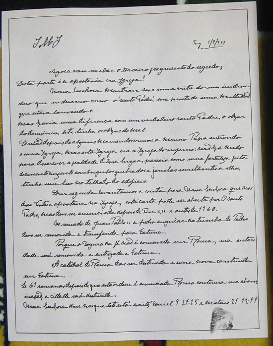 A handwritten facsimile of what may be the Third Secret of Fatima
