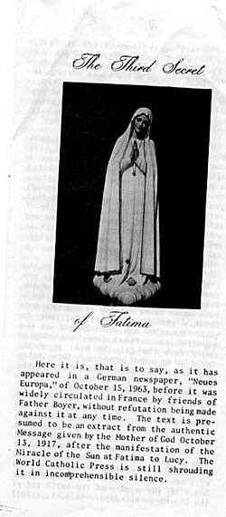 a third secret of Fatima from the 70's and 80's
