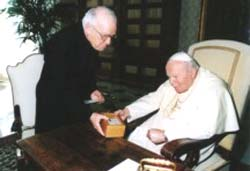 The Pope giving the Cornerstone of St. Peter's tomb to Msgr.  Luciano