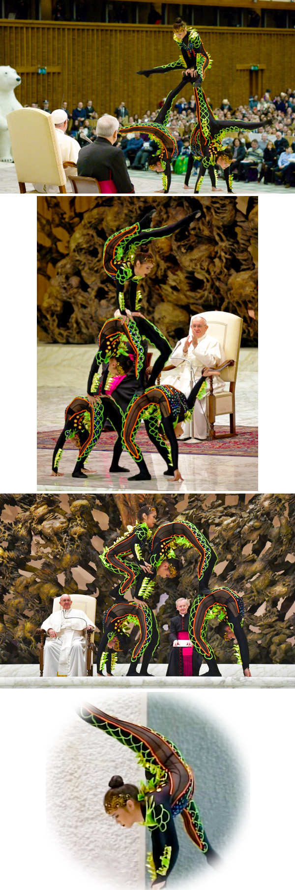 Photo collage of the 2017 Vatican Christmas circus with acrobats in transparent leotards performing for Pope Francis