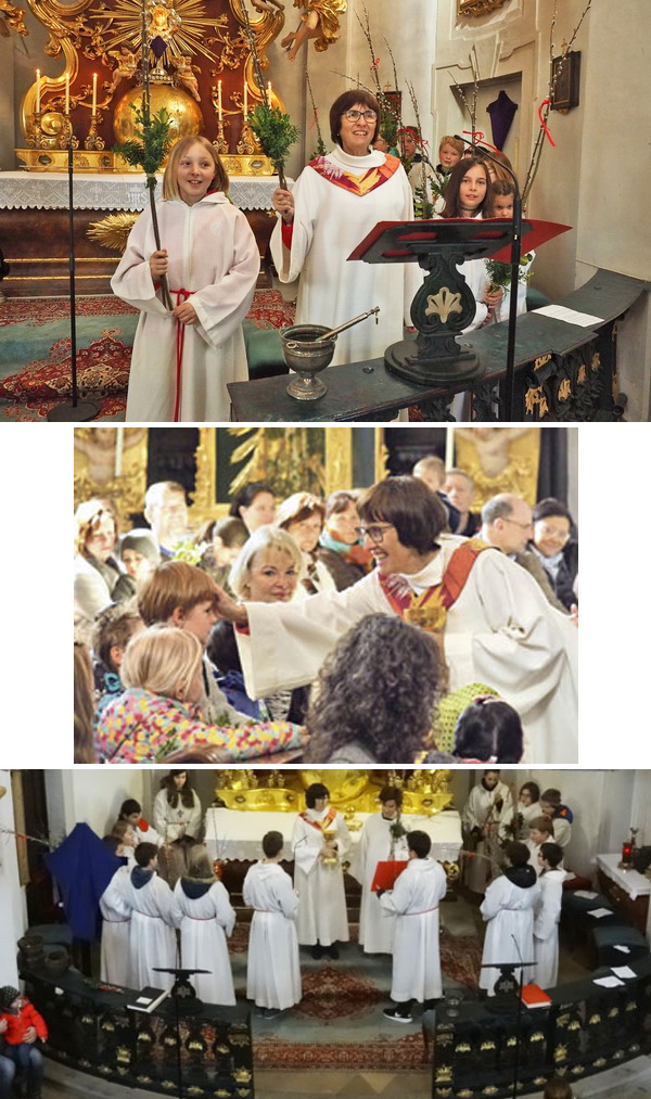 Photo montage of Sissy Kamptner performign the duties of a priest