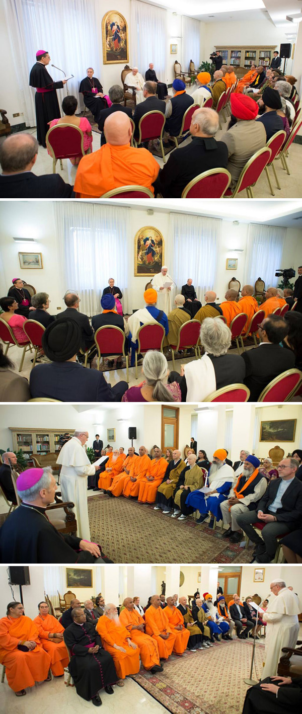 Pope Francis and Cardinals addressing a crowd of Buddhist monks and Sikhs