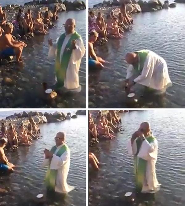 Sacerdote diciendo Misa en el agua en una playa