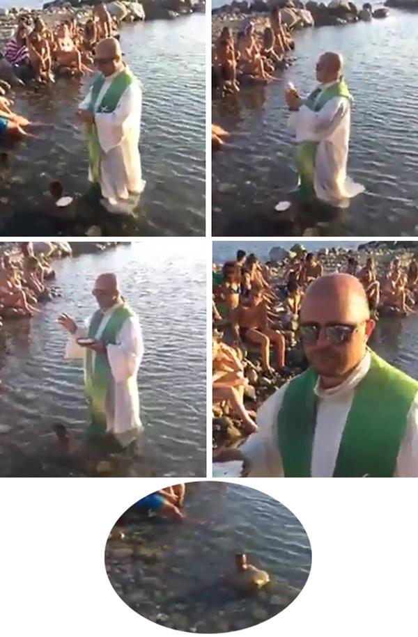 Sacerdote diciendo misa en el agua del océano