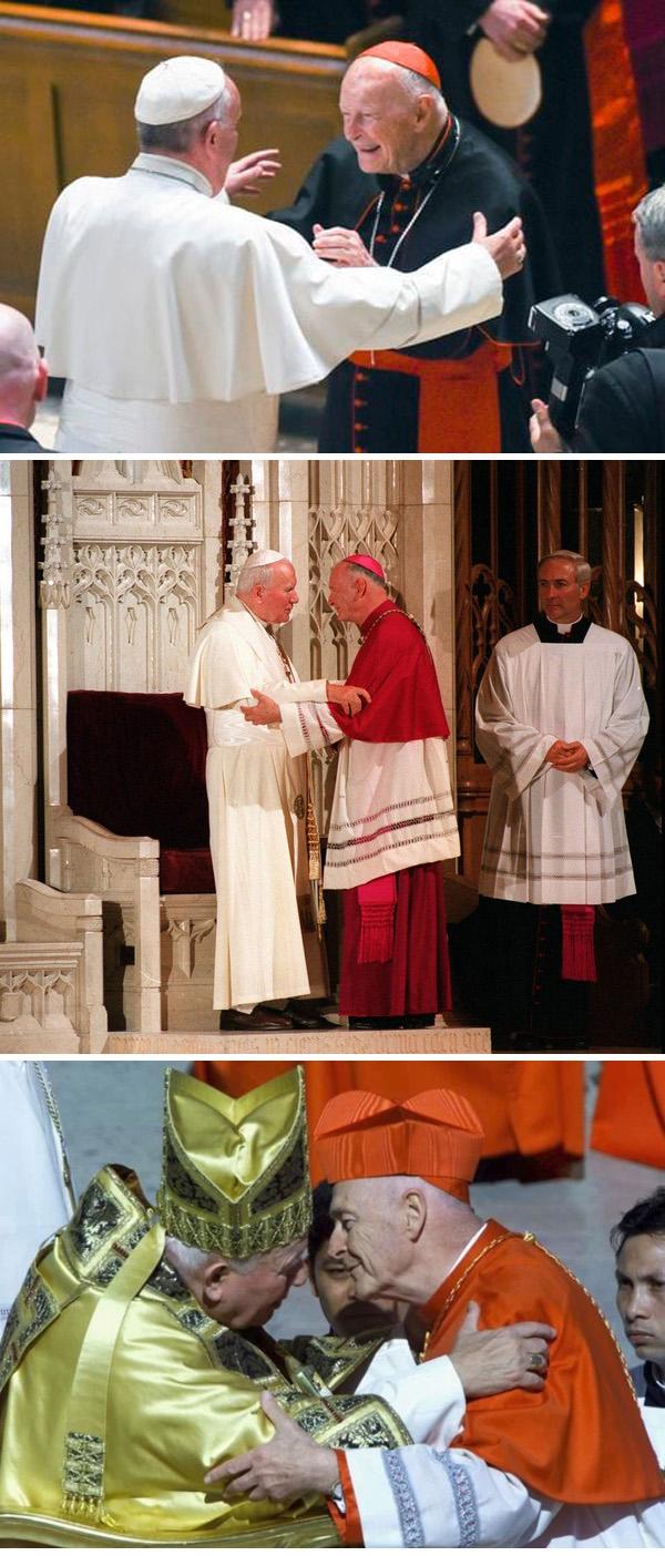 El cardenal Theodore McCarrick con Papas