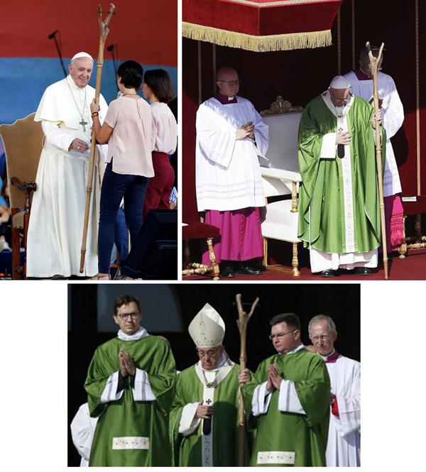 Francis sostiene un stang