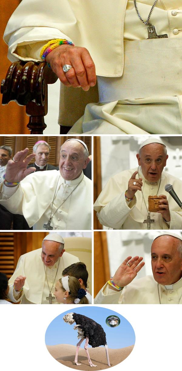 El Papa FRancis lleva un brazalete de arcoiris.