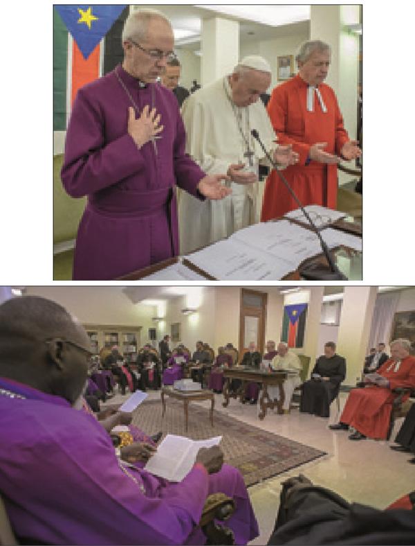 El Papa Francisco besa los pies a los políticos musulmanes.