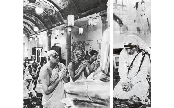 Photographs of Mother Teresa praying in a Buddhist ceremony
