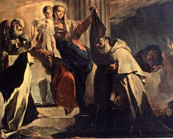 Our Lady giving the scapular to St. Simon Stock