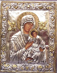 A silver plated icon of Our Lady of Perpetual help