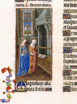 An image of the Visitation from the Duke of Berry's Book of Hours
