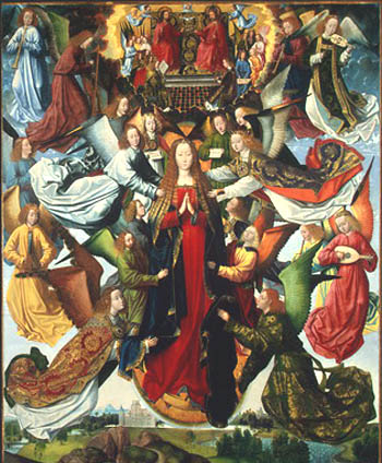 A painting of Our Lady surrounded by Angels before the Throne of God