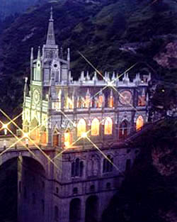 Sanctuario de Las Lajas at night
