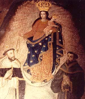 The image of Our Lady of Las Lajas, St. France, and St. Dominic