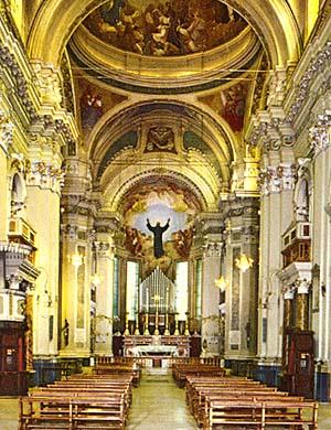 The interior of St. joseph of Cupertino basilica in Osimo