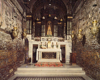 The interior of the Holy House of Nazareth