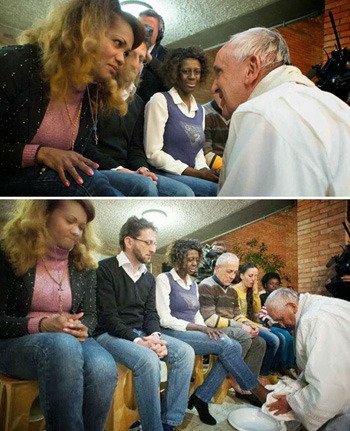 Francis washes feet of transgender