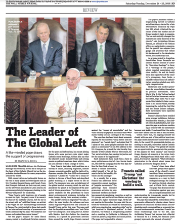 Wall Street: Francis is leader of left