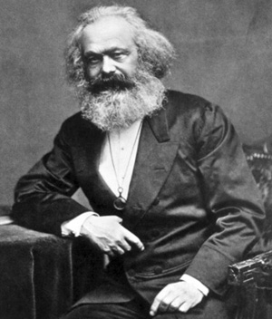 black and white photograph of Karl Marx
