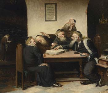 Painting that shows rabbis bickering over verses of the Talmud