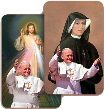Cards for Sister Faustina and the Divine Mercy with John Paul II printed on them