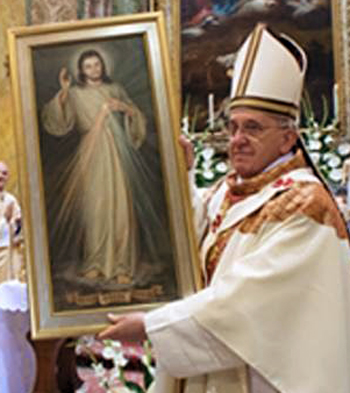 Pope Francis holding a painting of the Divine Mercy
