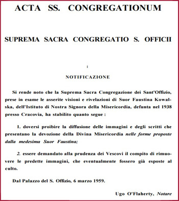 condemnation of Sr. Faustina from the Holy Office in 1959
