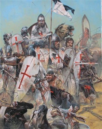 A picture of Crusaders fighting in battle