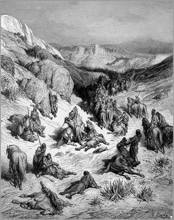 Dispersion of the Syrian Army by a sandstorm, by Gustav Dore