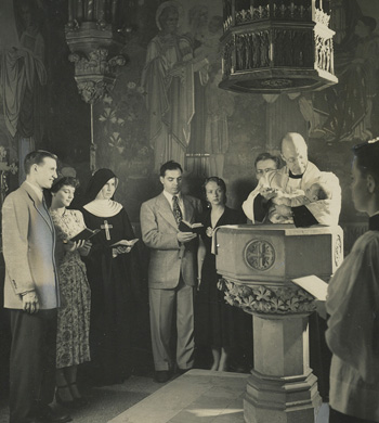 Black and White photograph of a traditional 50's baptism
